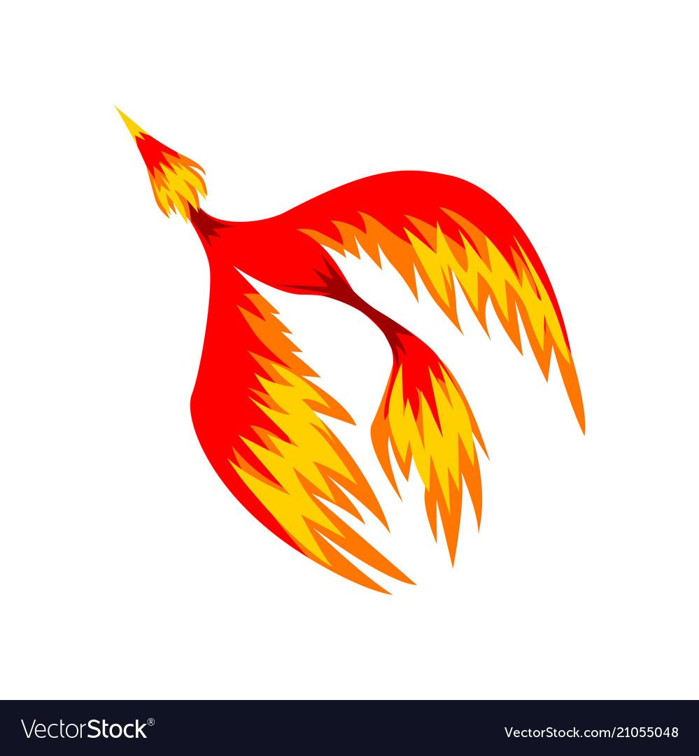 Mythical phoenix flaming bird flying