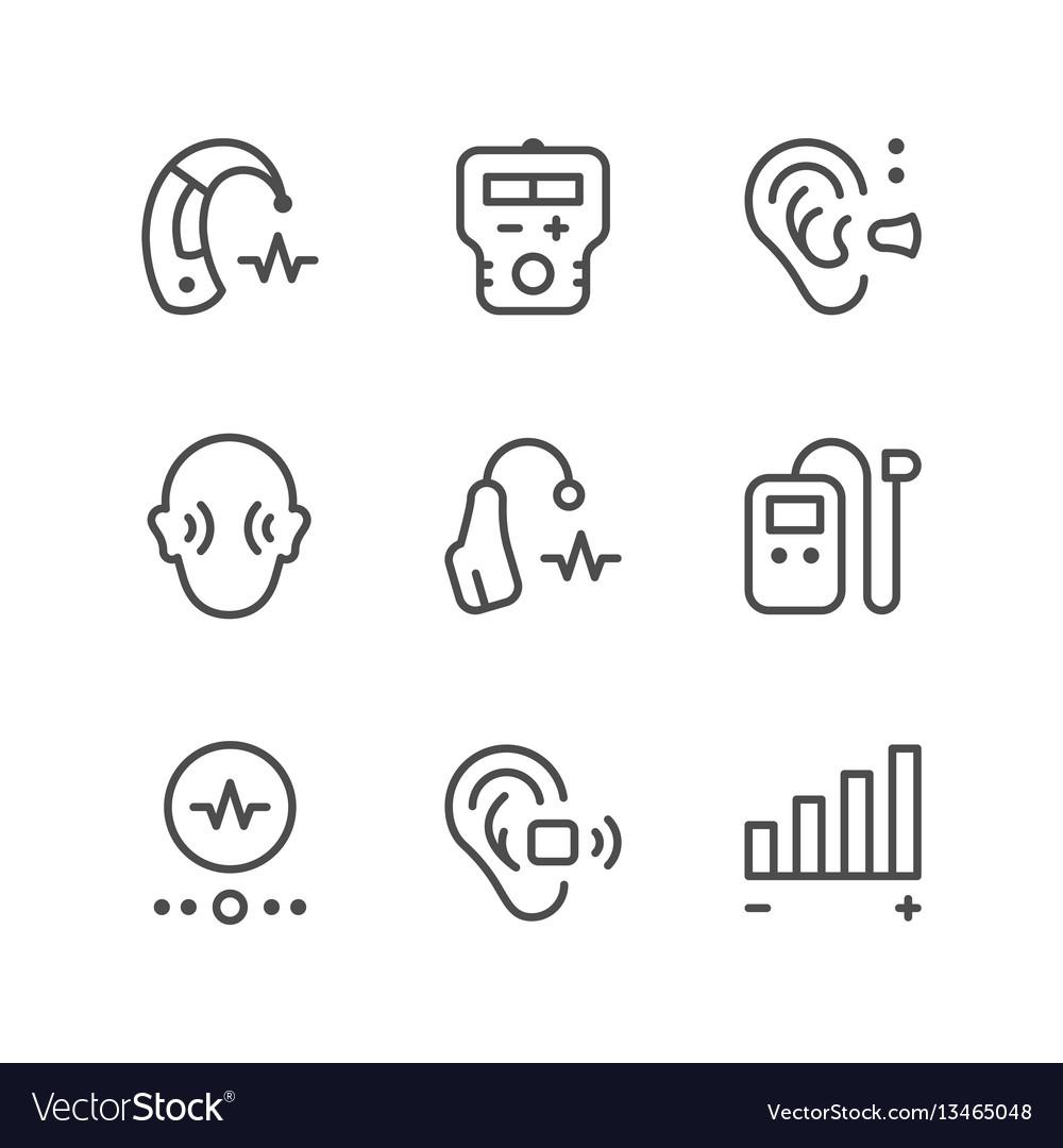 Set line icons hearing aid