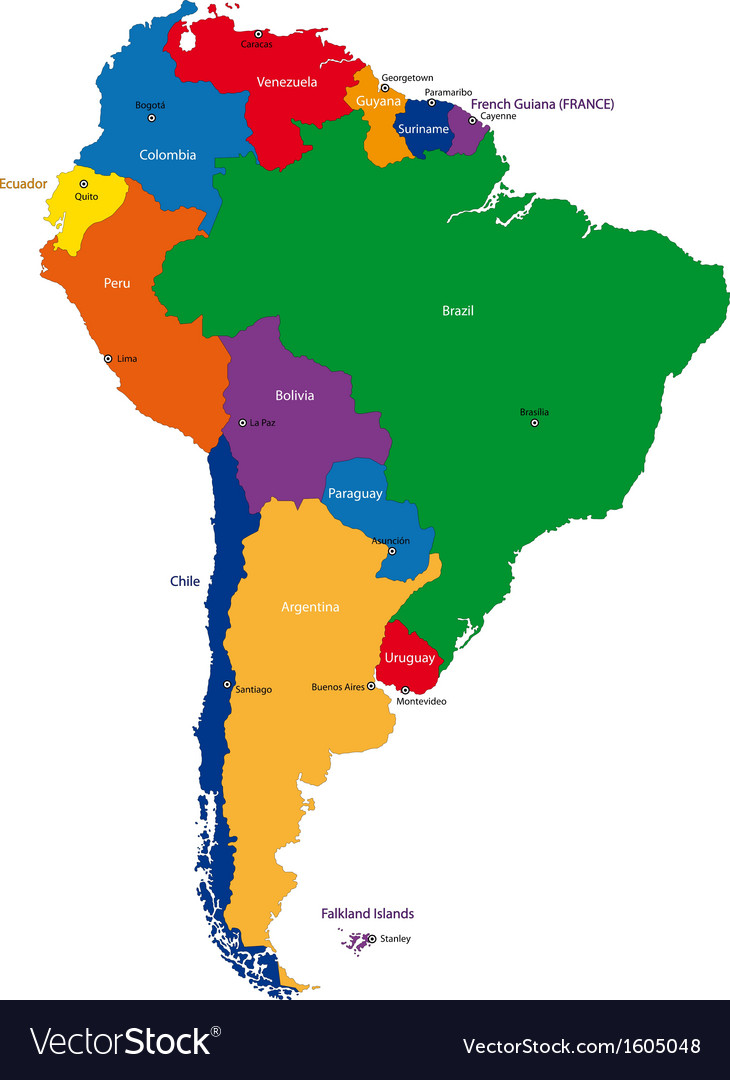 South America map Royalty Free Vector Image   VectorStock