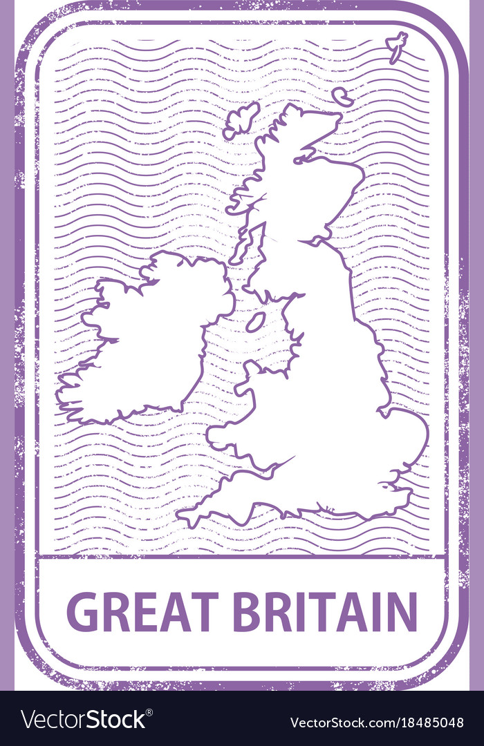 Stamp with contour of map of great britain