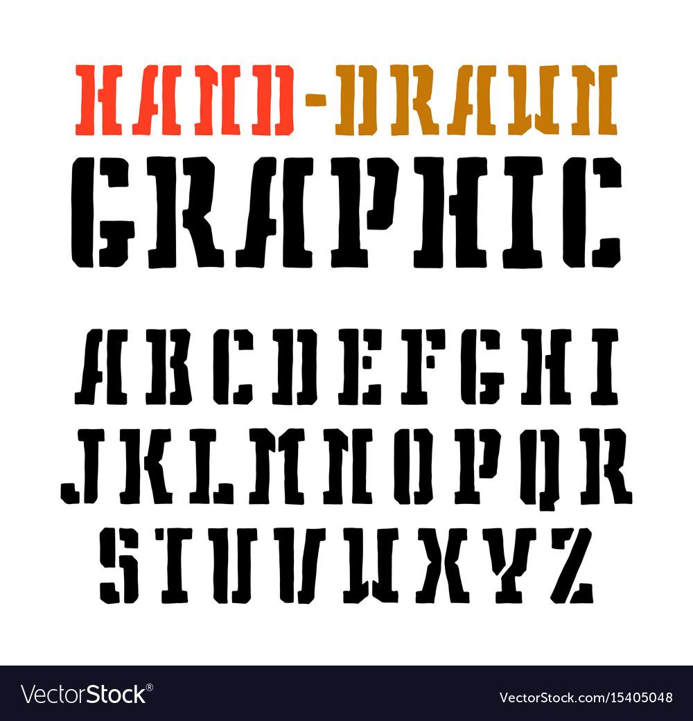 Stencil-plate serif font vector image