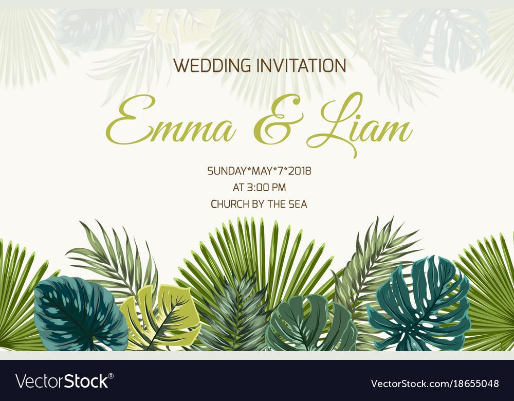 Wedding Invitation Green Turquoise Tropical Leaves Invitara.com (in progress) wa : vectorstock