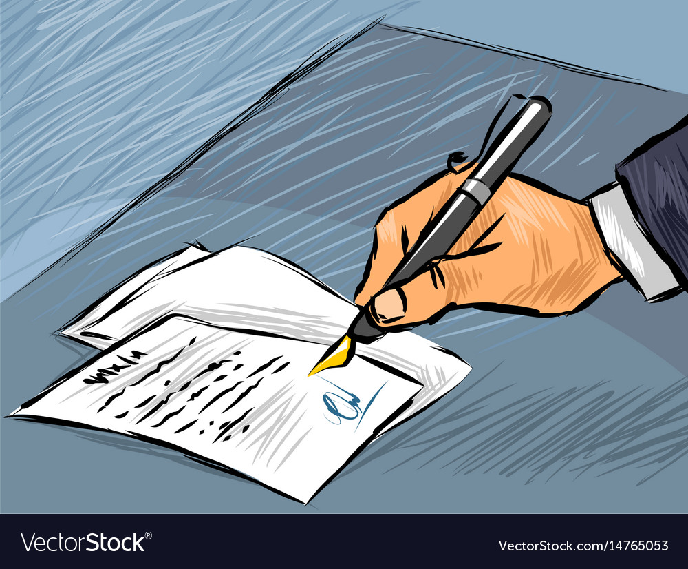 Businessman signing act