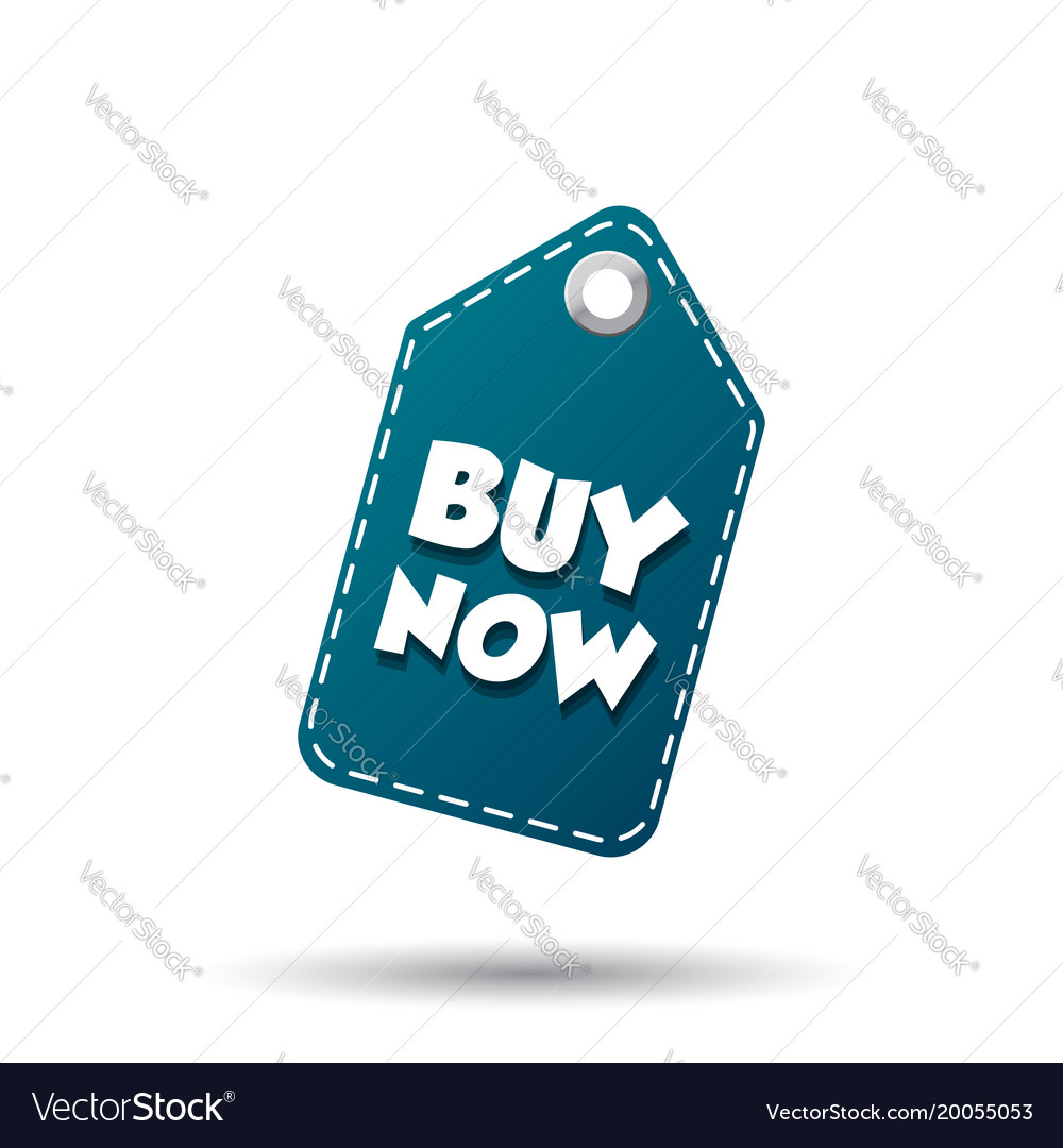 Buy now hang tag label on white background vector image