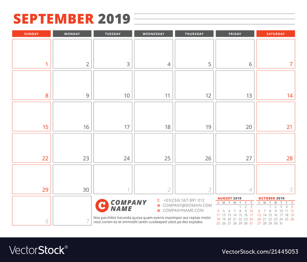 Calendar template for september 2019 business vector image maxwellsz