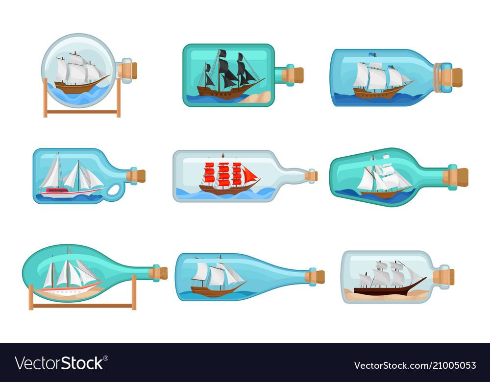 Flat set of glass bottles with ships inside vector image