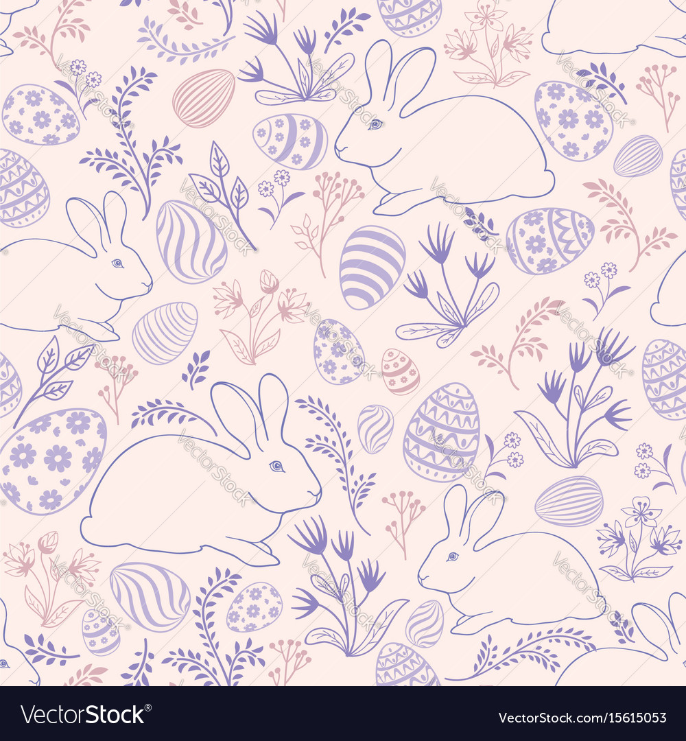 Floral holiday pattern easter bunny eggs seamless