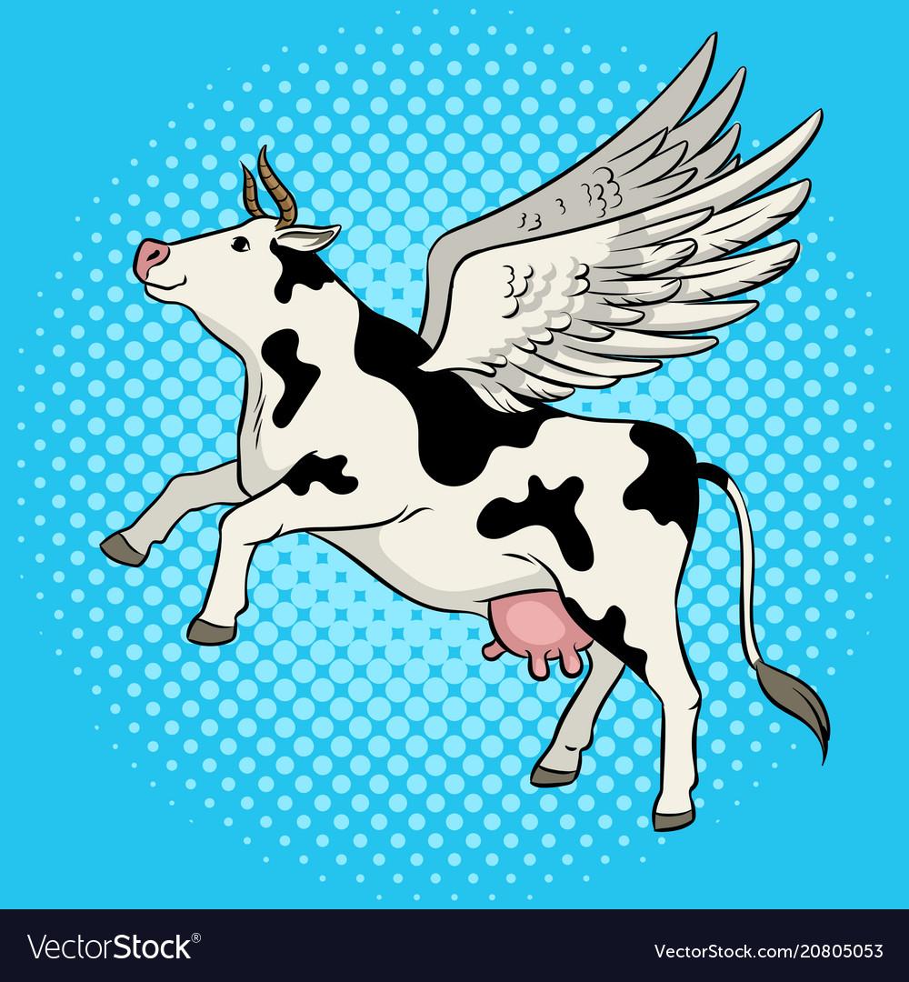 Flying Cow Farm Animal Pop Art Royalty Free Vector Image