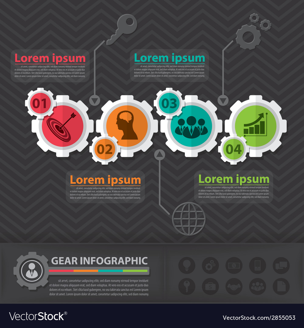a8608b9cd96b Gear infographic Royalty Free Vector Image - VectorStock