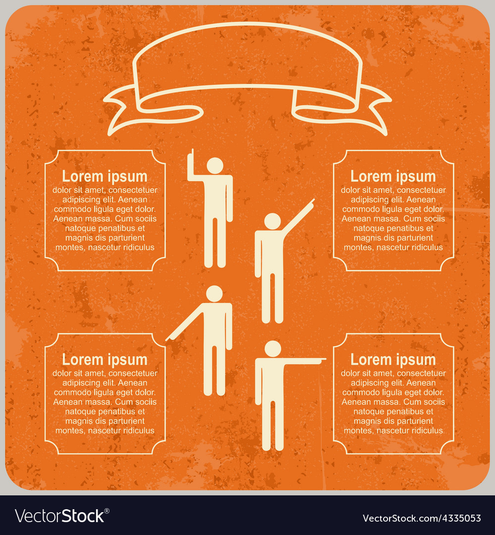 Infographic template with Pointing hands and text