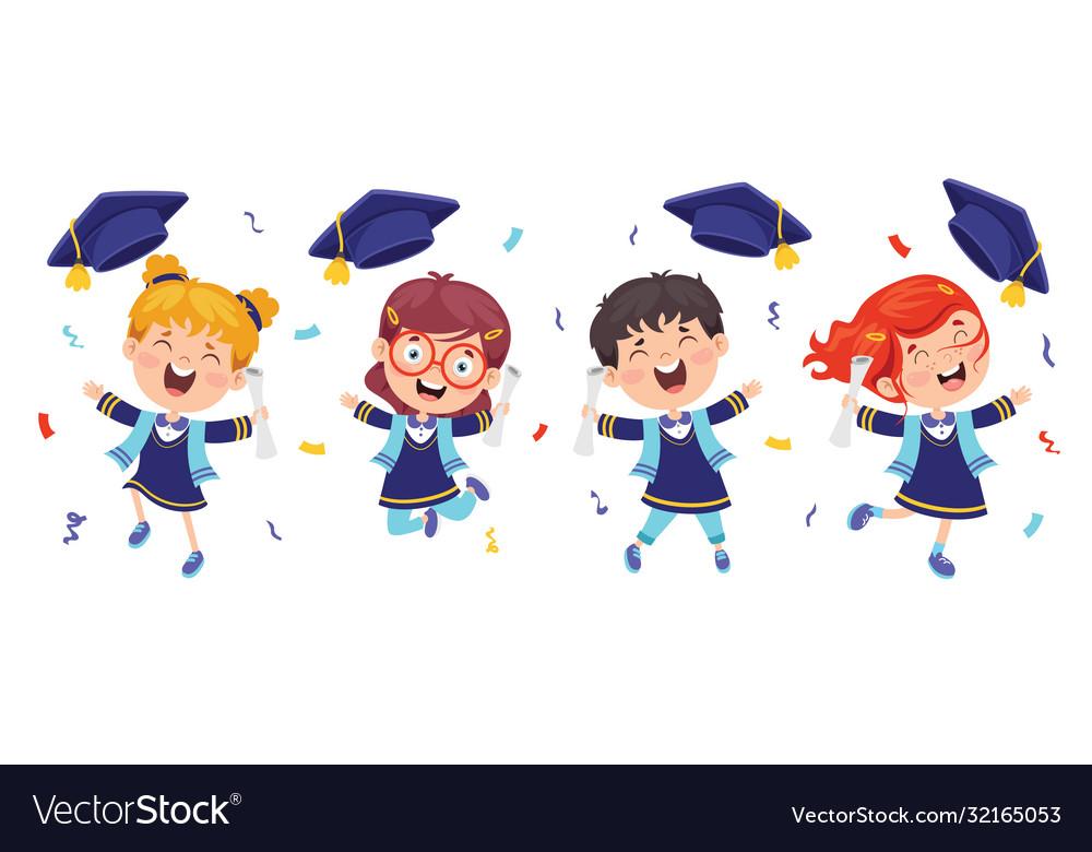 Kids in graduation costume