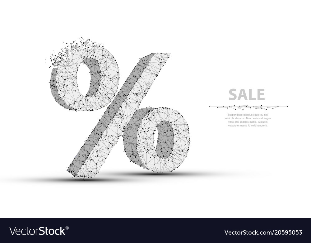 Percent sign low poly wireframe mesh concept