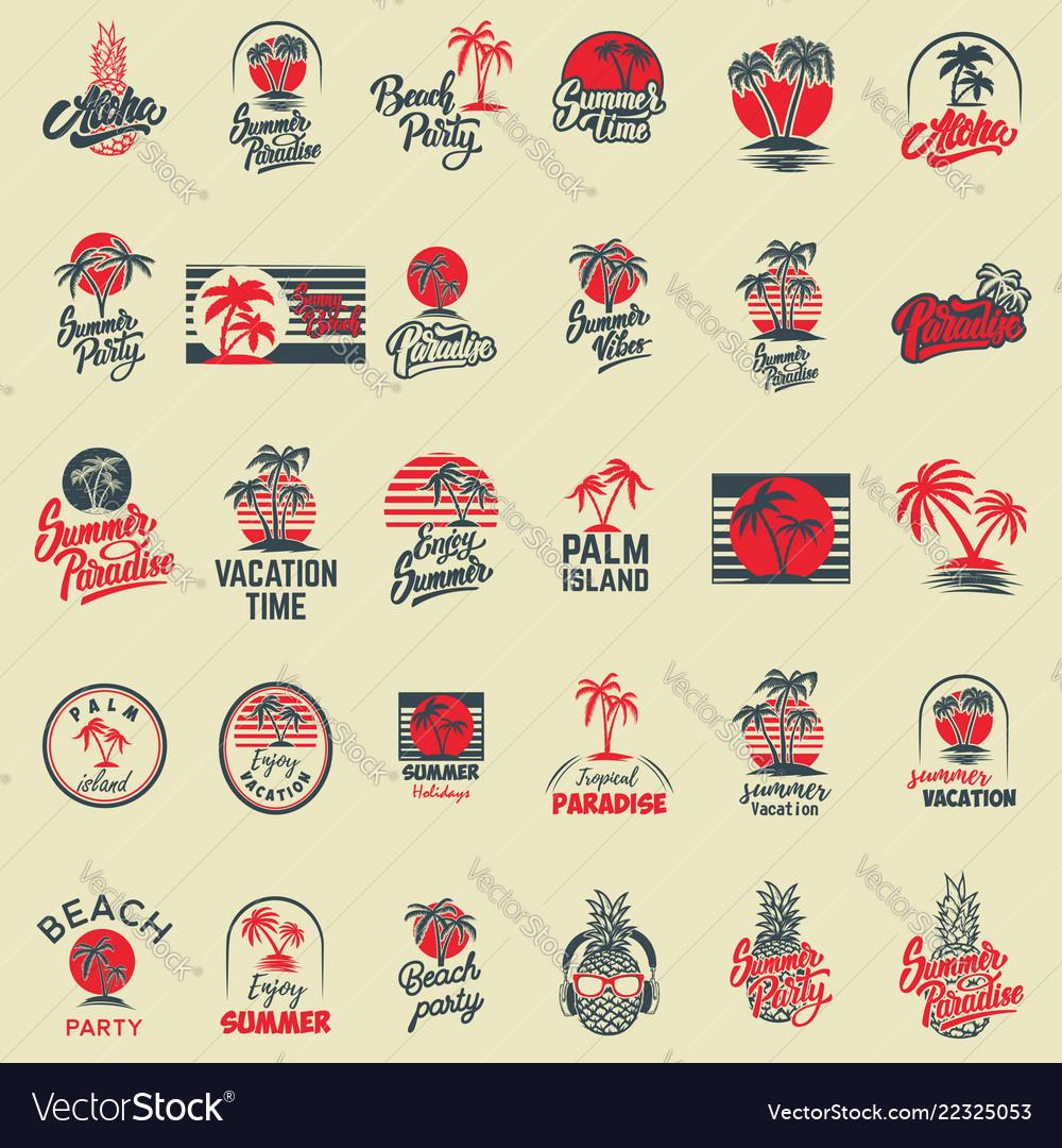Set of summer emblems with palms for emblem sign