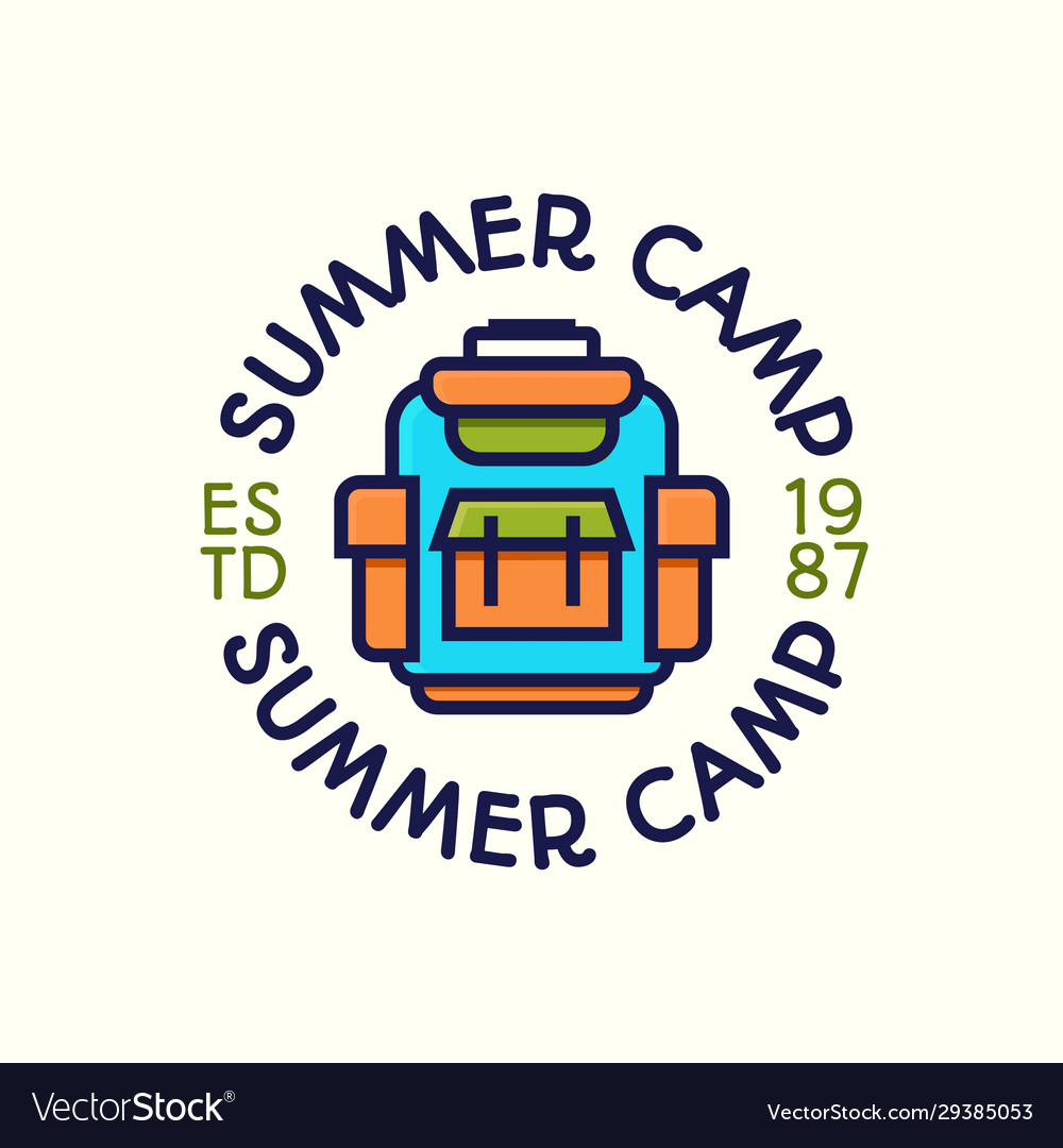 Summer camp logotype color style