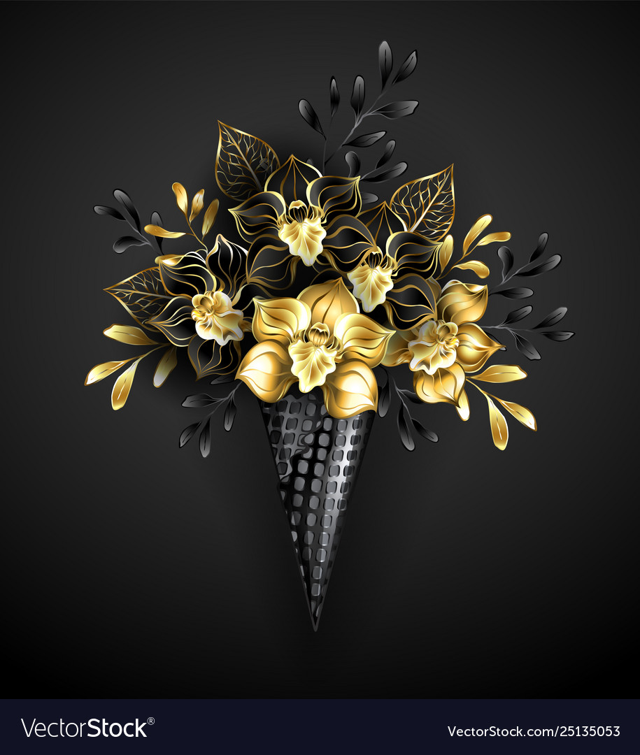 Waffle Cones With Black Orchids Royalty Free Vector Image