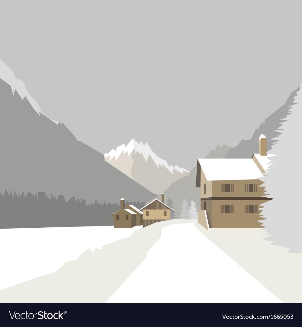 Winter mountain village background