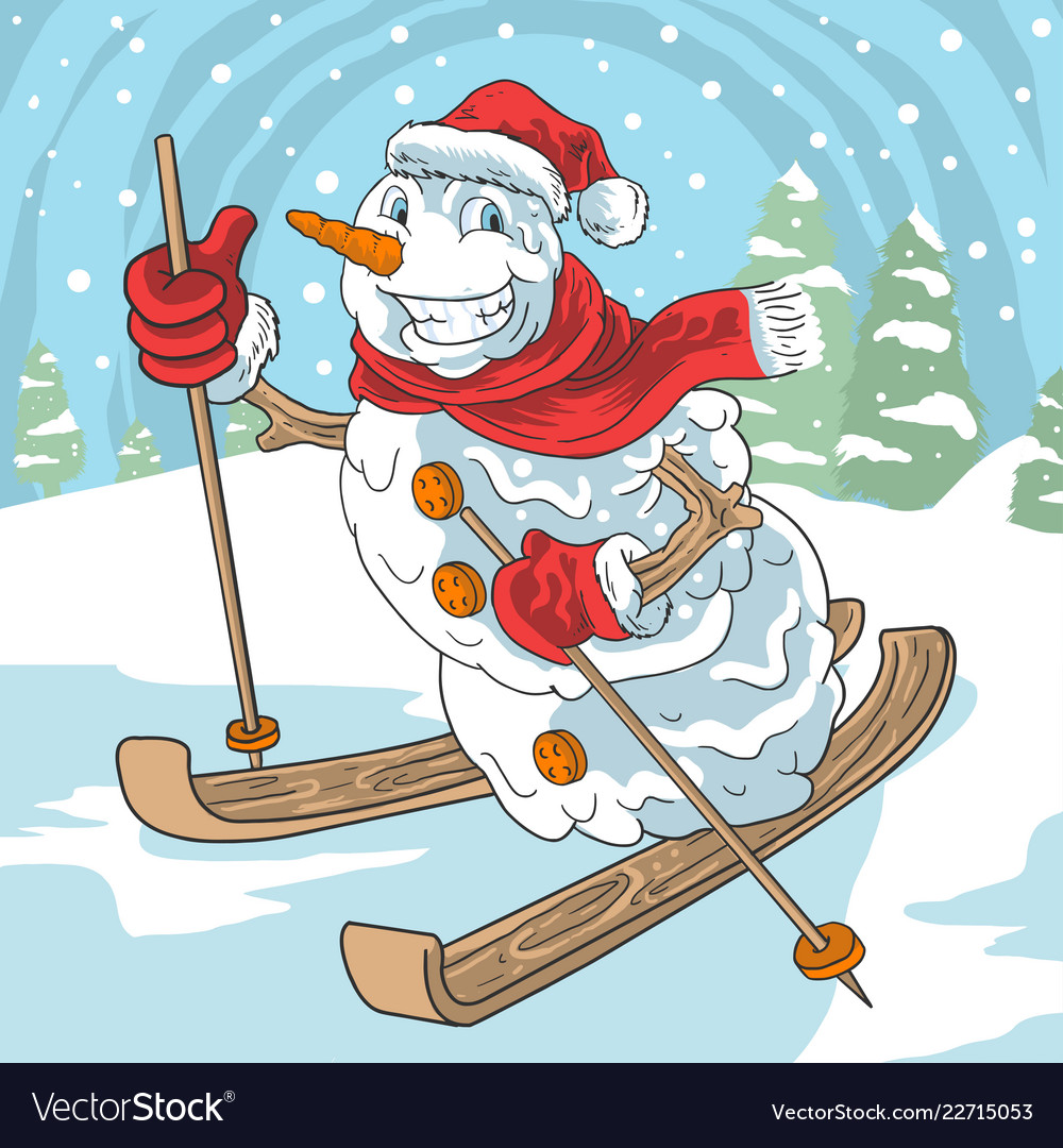 Winter ski snow ball santa claus christmas