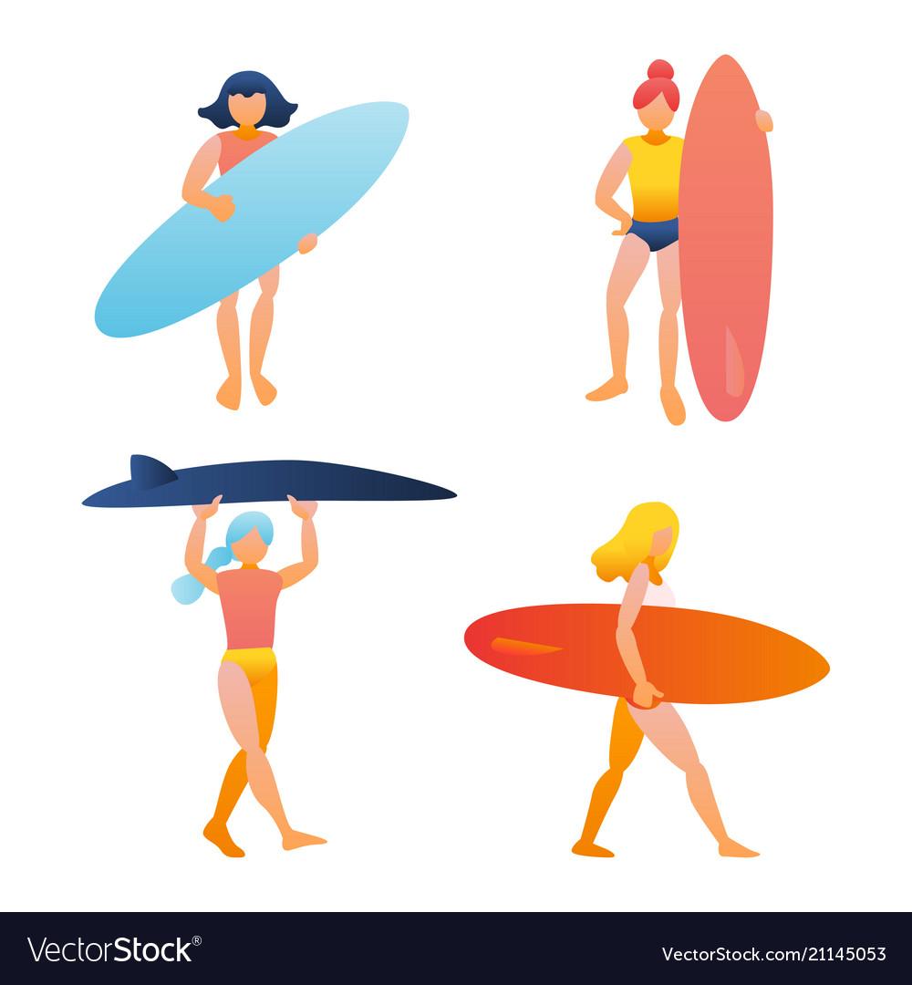 Woman girl holding surfboard