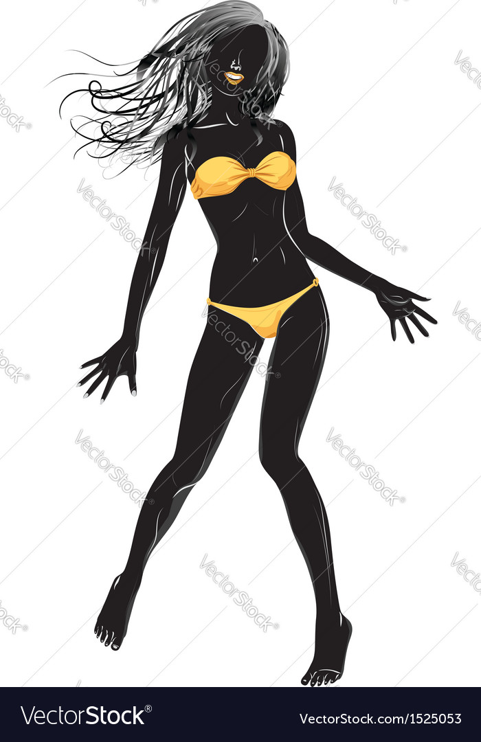 Yellow bikini girl silhouette vector image