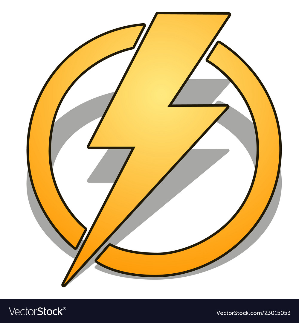 Yellow thunder in circle with shadow isolated on
