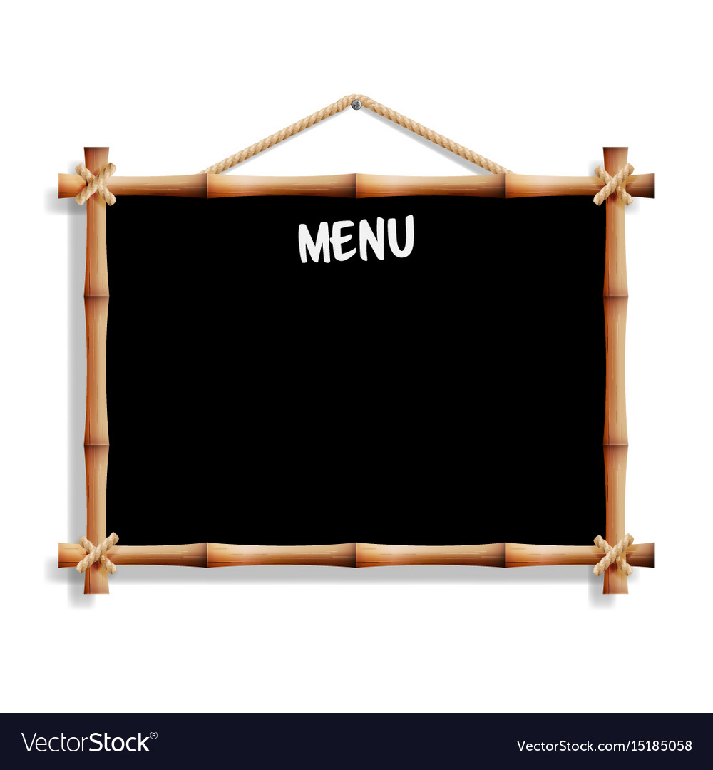 Cafe menu board with bamboo frame isolated on