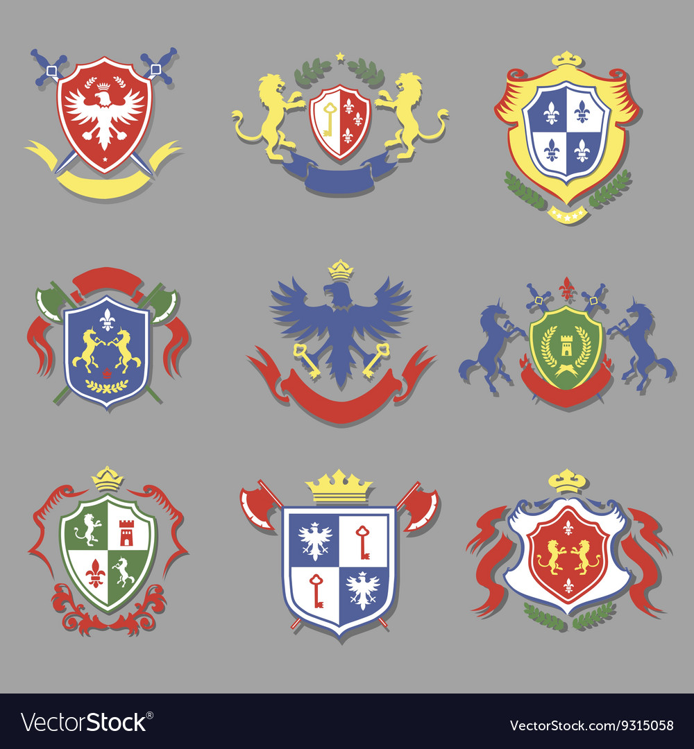 Coat arms collection heraldry shields design