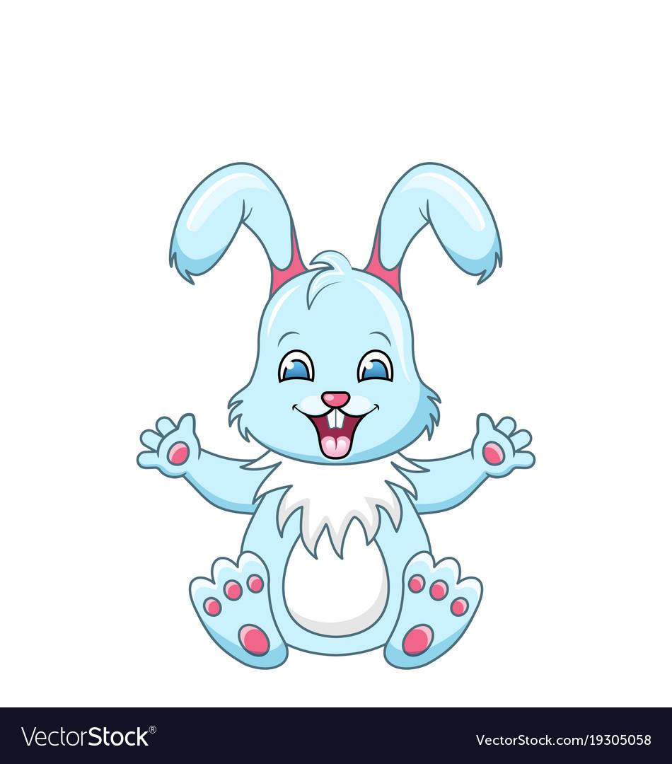 Cute rabbit cartoon boy happy bunny isolated on