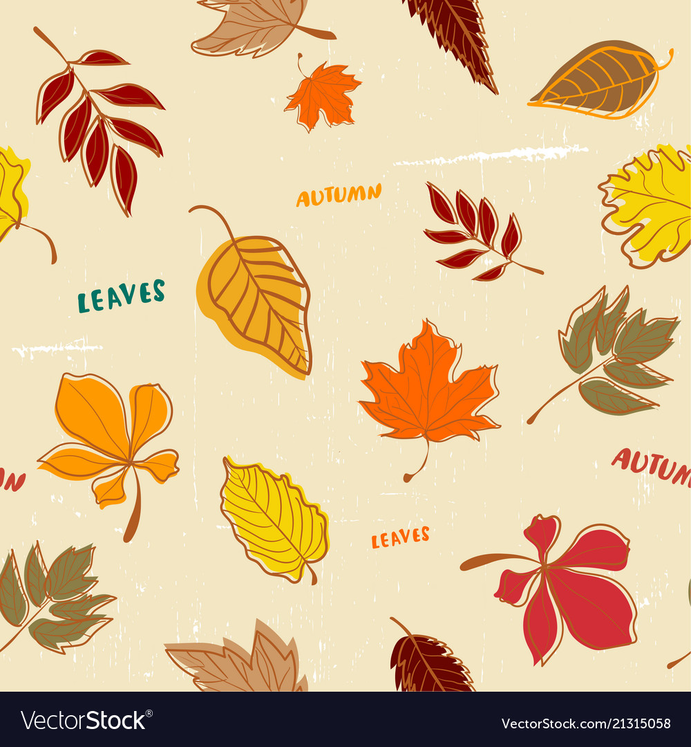 Doodle autumn leaves pattern seamless