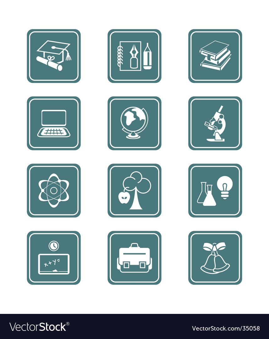 Education objects icons teal series