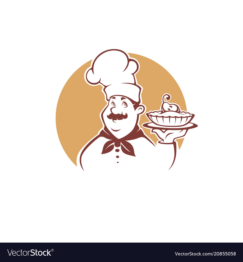 Happy cartoon chef holding a sweet pear pie