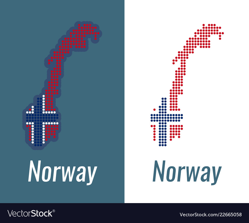 Norwegian dots map on a dark and white background
