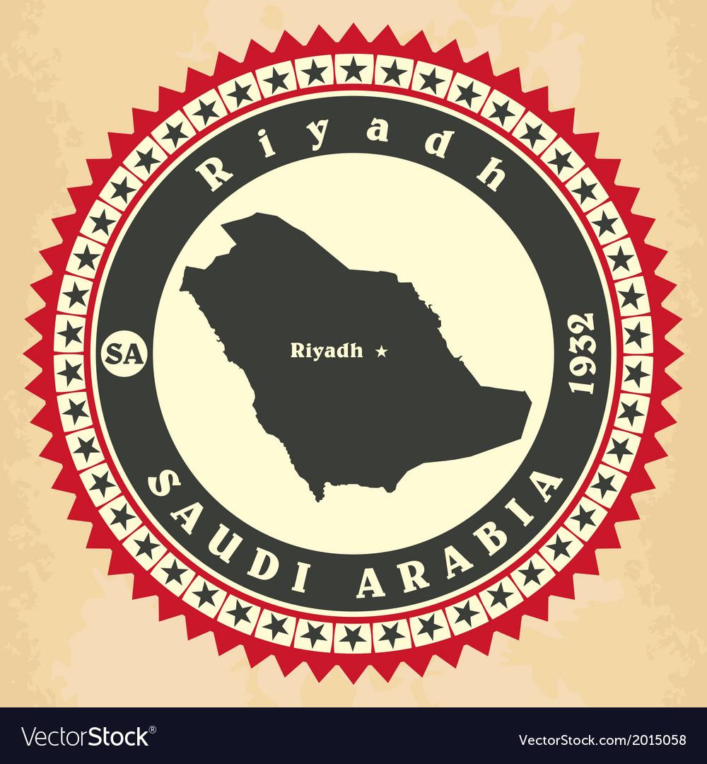 Vintage label-sticker cards of Saudi Arabia vector image