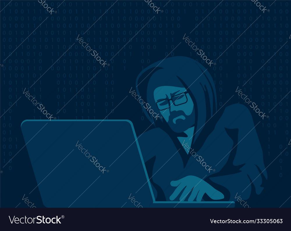 A hacker with laptop breaks computer code