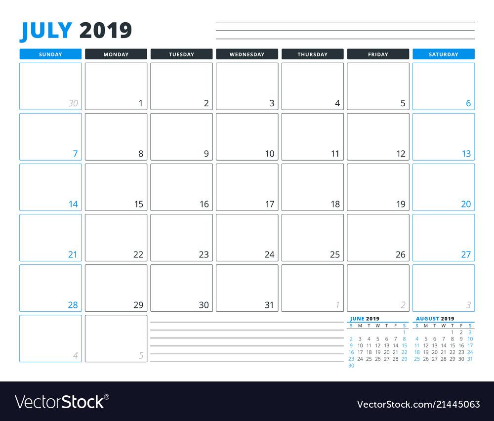 Calendar template for july 2019 business planner