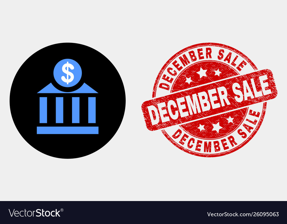 Dollar bank icon and distress december sale