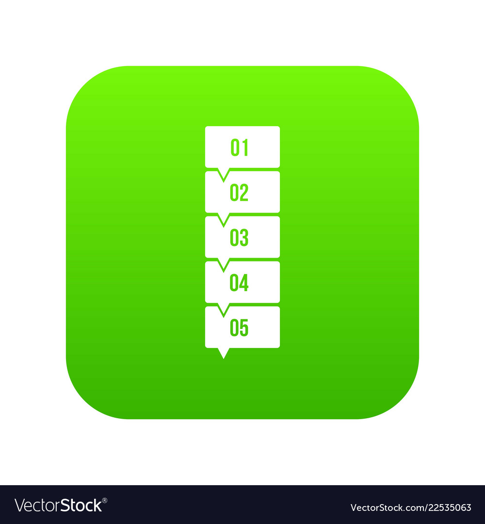 Five steps infographic icon digital green