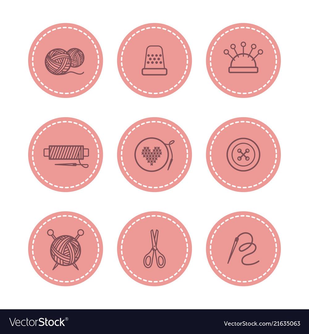Handmade and sewing badges set