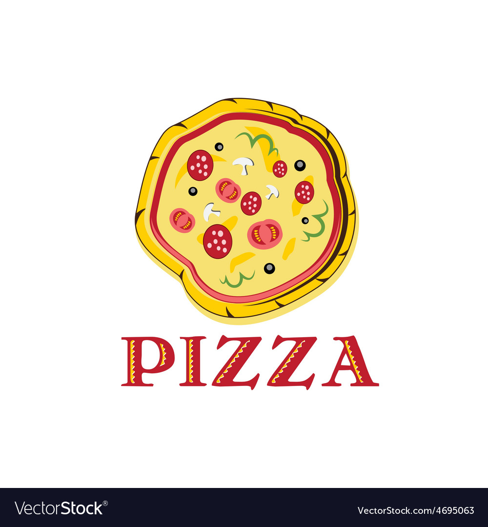 Pizza with tomato sausage and mushrooms vector image