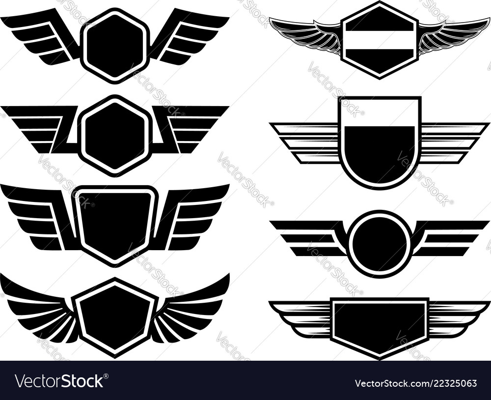Set winged emblems design element for poster