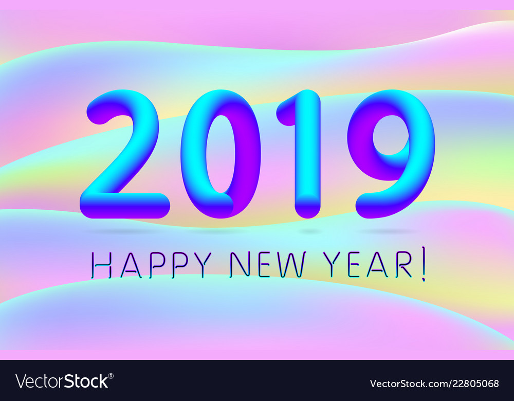 2019 happy new year of a colorful fluid shapes