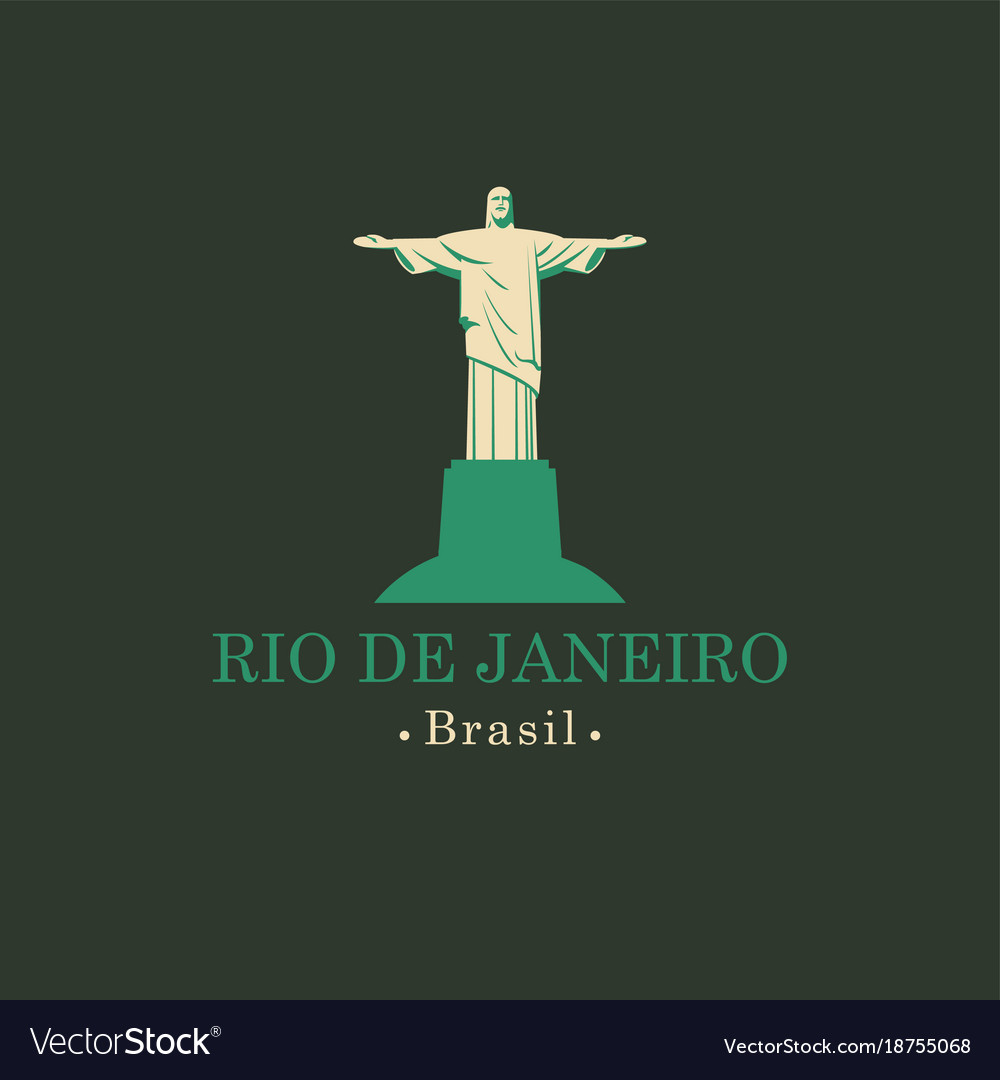 Banner with statue of christ the redeemer in rio vector image