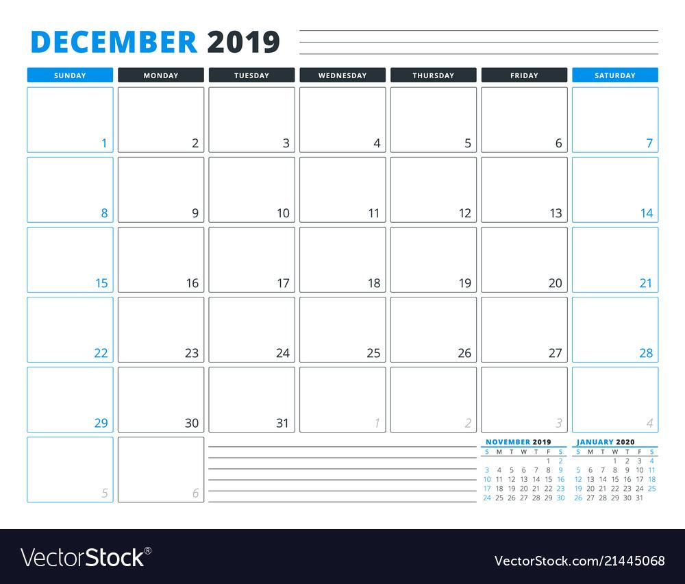 Calendar Template For December 2019 Business Vector Image