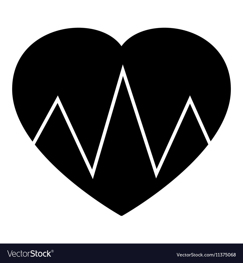 Cardiogram heart icon simple style