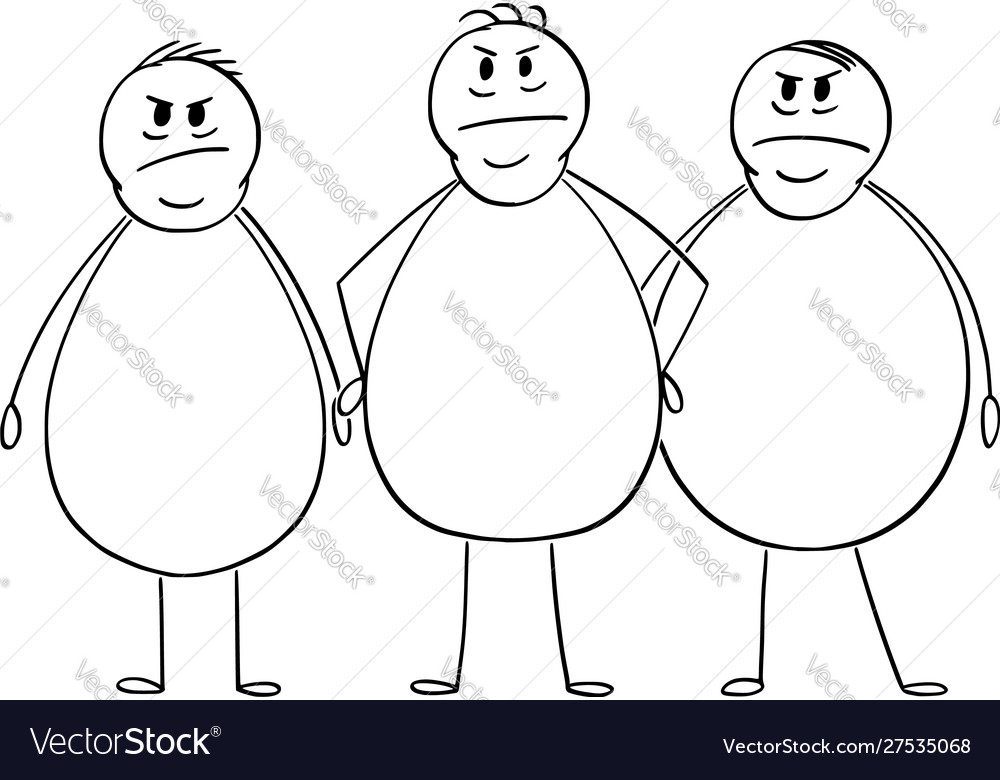 Cartoon group three angry overweight or fat