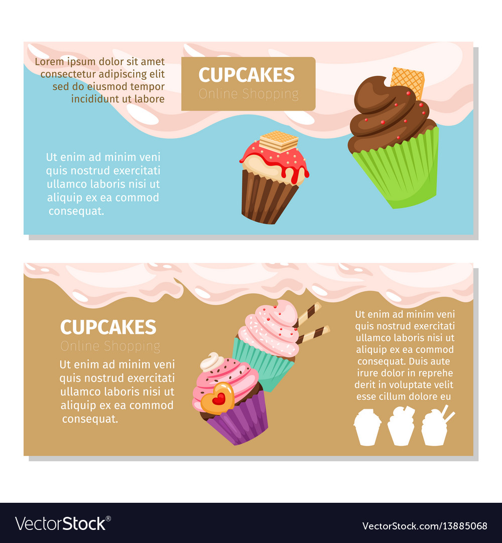 cupcakes and muffin flyers design royalty free vector image