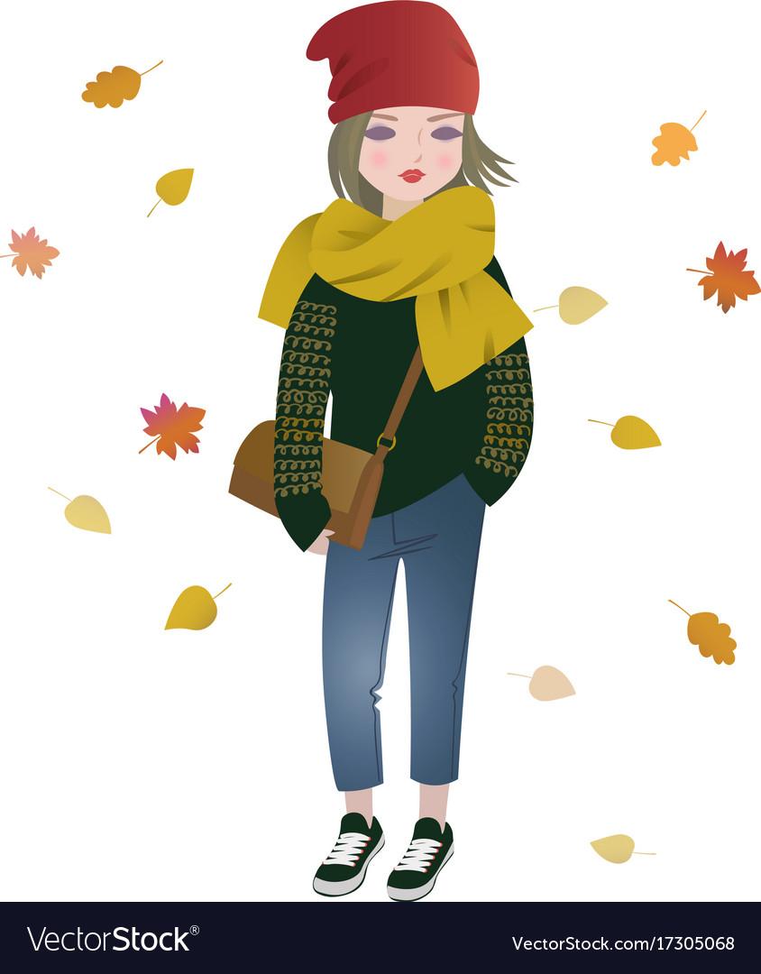 Cute fashion cartoon girl in trendy autumn outfit