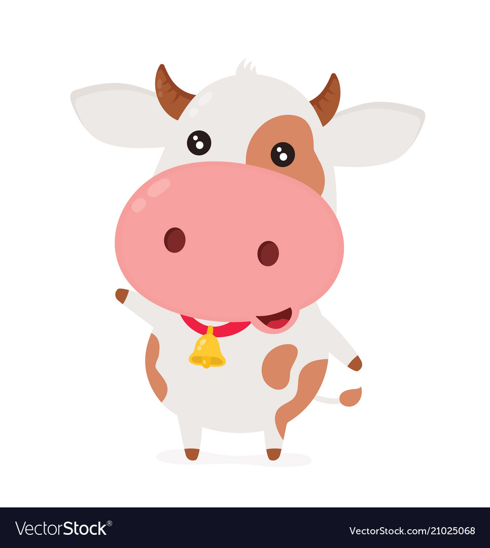 Cute smiling happy funny little cow