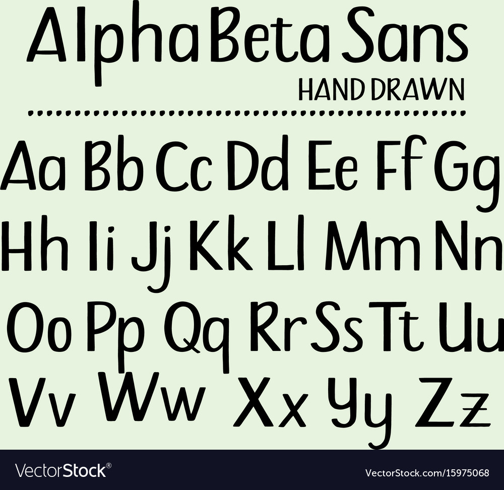 Hand drawn sans serif alphabet containing all vector image