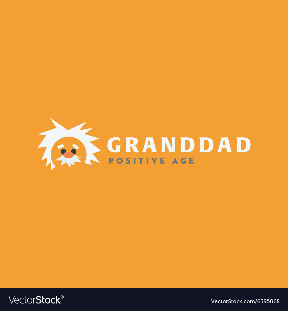 Logo grandfather Professor old man white-haired vector image