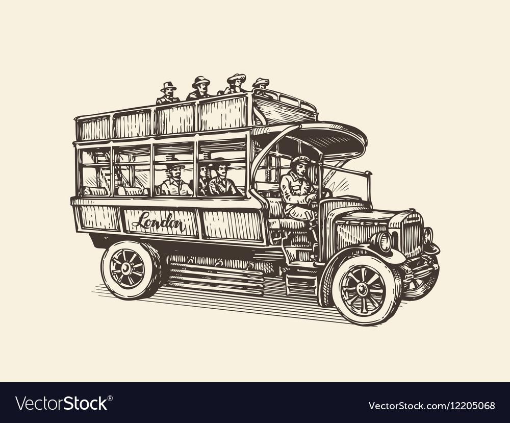 London city bus Vintage sketch